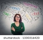 pretty positive young woman...   Shutterstock . vector #1330316420