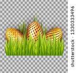 easter decorated golden eggs in ... | Shutterstock .eps vector #1330333496