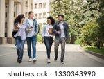 multiethnic group of smiling... | Shutterstock . vector #1330343990