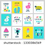 set of summer holiday cards.... | Shutterstock .eps vector #1330386569
