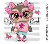 Cute Cartoon Owl in pink glasses with bag