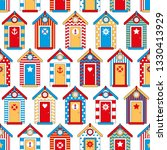seamless pattern beach huts ... | Shutterstock .eps vector #1330413929