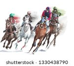 Stock photo horse race sport activity handmade watercolor painting illustration isolated on white background 1330438790