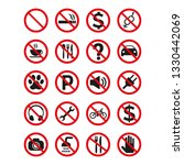 prohibition signs set safety on ... | Shutterstock .eps vector #1330442069
