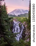 Mount Rainer Sunset Waterfall