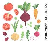vector vegetable set with... | Shutterstock .eps vector #1330460429