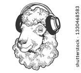 sheep animal in headphones... | Shutterstock .eps vector #1330468583