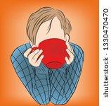 the guy is drinking coffee  tea ...   Shutterstock .eps vector #1330470470