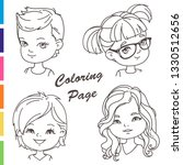 coloring page. young girl... | Shutterstock .eps vector #1330512656