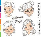 coloring page. young girl... | Shutterstock .eps vector #1330512659