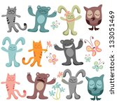 set of cute funny animals | Shutterstock .eps vector #133051469