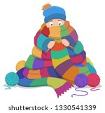 a person sat down knitting a... | Shutterstock .eps vector #1330541339