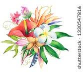 watercolor bouquet of tropical... | Shutterstock . vector #1330547816