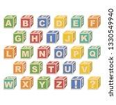 alphabet letter in box. vintage ... | Shutterstock .eps vector #1330549940