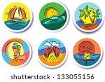 cute summer tags set | Shutterstock .eps vector #133055156