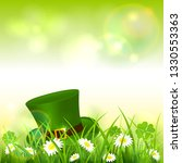 green hat in grass with clover. ... | Shutterstock .eps vector #1330553363