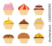 set of cupcake icons isolated... | Shutterstock .eps vector #1330553390