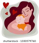 portrait of mother holding her... | Shutterstock .eps vector #1330579760