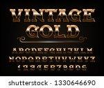 vintage gold alphabet font.... | Shutterstock .eps vector #1330646690