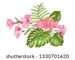 tropical flower garland for... | Shutterstock .eps vector #1330701620