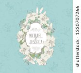 wedding card with lily flowers. ... | Shutterstock .eps vector #1330707266