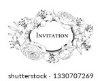 wedding card with lily flowers. ... | Shutterstock .eps vector #1330707269