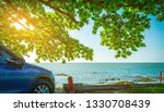 blue sport suv car parked by... | Shutterstock . vector #1330708439