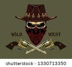 skull in a cowboy hat with... | Shutterstock .eps vector #1330713350