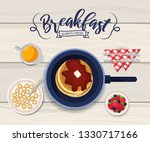 delicious pancakes in the pan... | Shutterstock .eps vector #1330717166