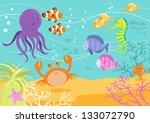sea creatures underwater scene... | Shutterstock .eps vector #133072790