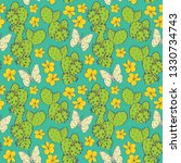 Seamless Pattern Cactus With...