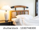 rumple pillow on bed decoration ... | Shutterstock . vector #1330748300