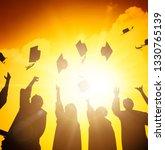 happy students throwing... | Shutterstock . vector #1330765139