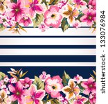 tropical flower with stripe... | Shutterstock .eps vector #133076984