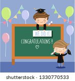 cute kids celebrating graduated ... | Shutterstock .eps vector #1330770533