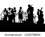 drawing jazz musicians on the... | Shutterstock . vector #133078844