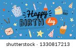 happy birthday kids poster with ... | Shutterstock .eps vector #1330817213