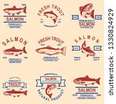 set of salmon  trout seafood... | Shutterstock .eps vector #1330824929