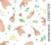 anteater pattern. seamless.... | Shutterstock .eps vector #1330857329