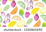 hand drawn doodle fruit pattern ... | Shutterstock .eps vector #1330865690