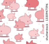 happy pigs  hand drawn backdrop.... | Shutterstock .eps vector #1330947596