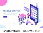 mobile survey concept with... | Shutterstock . vector #1330953410