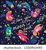 i love you to the moon and back.... | Shutterstock .eps vector #1330963490