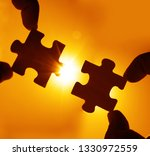 two hands trying to connect...   Shutterstock . vector #1330972559