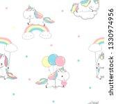 unicorn over rainbow children...   Shutterstock .eps vector #1330974956