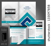 Vector gray brochure template design with blue elements. EPS 10 - stock vector