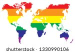 rainbow world map. earth... | Shutterstock .eps vector #1330990106