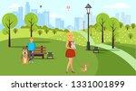 dog lovers walk vector color... | Shutterstock .eps vector #1331001899