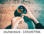 top view of female hands with a ... | Shutterstock . vector #1331007506