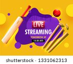 realistic cricket bat with ball ... | Shutterstock .eps vector #1331062313